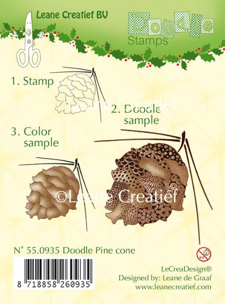 55.0935 ~ DOODLE PINE CONE  ~ Leane Creatief Clear Stamp